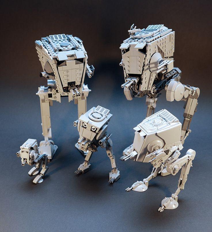 https://flic.kr/p/MBERvR | AT-ST LEGO MOC v2.3 | In order: 1. LEGO 75153 set 2. AT-ST MOC v2.3 3. nano AT-ST MOC 4. AT-Steve MOC 5. Bandai 1/48 AT-ST model kit  Still on ideas.lego.com/projects/112665 and rebrickable.com/mocs/gol/articulated-star-wars-at-st-v21