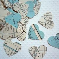 Blue & white map confetti.