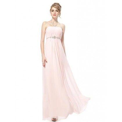 Vestido largo rosa palabra de honor  | suen-Vestidos de fiesta baratos|Vestidos online