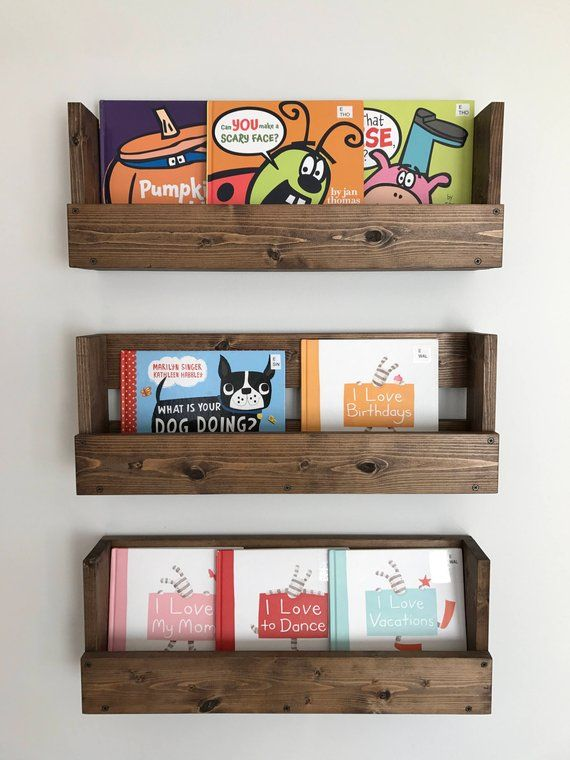 Set Of Three Rustic Wood Shelves Kids Room Nursery Book Shelves Rustic Wood Book Shelf Wall Hanging Shelves Nursery Bookshelf Bookshelves Kids Nursery Book