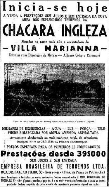 1938 - Anúncio imobiliário. Confluência da avenida Jabaquara e rua Luiz Goes.