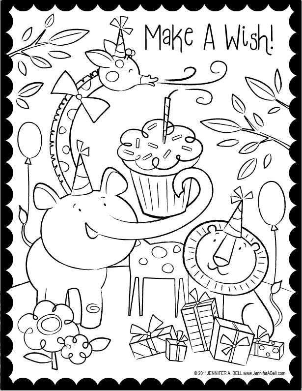 Make A Wish Animal Birthday Coloring Page Happy Birthday Coloring Pages Birthday Coloring Pages Free Coloring Pages