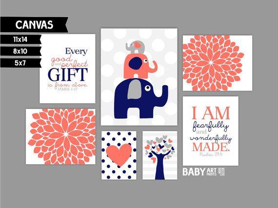 Coral and Navy Nursery canvas art prints, Set of 7, Elephants, Tree, Flowers, James 1:17 ( MS123 )