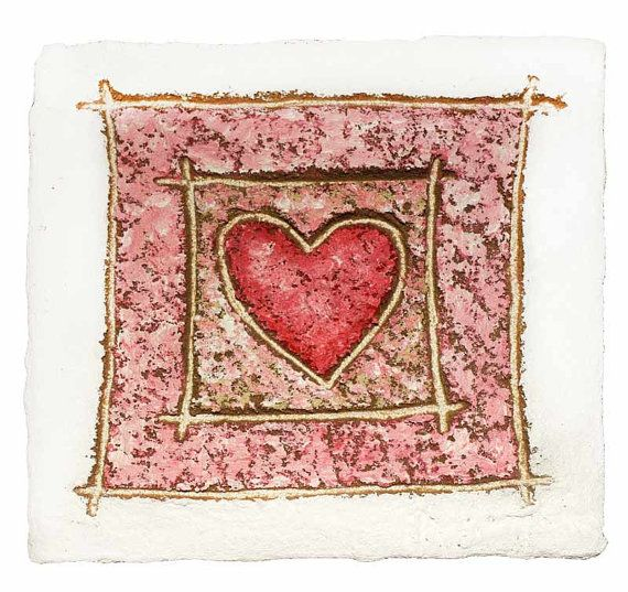 Love Heart Painting - Unique & Rustic - Pink Heart