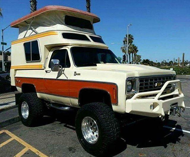 Old school Chevy camper. @squarebody_empire #crawlandhaul #chevy #k5 #squarebody…