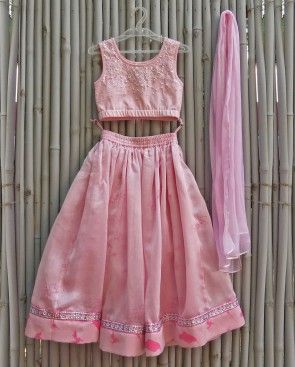 Baby Pink Lengha Set with Floral Prints