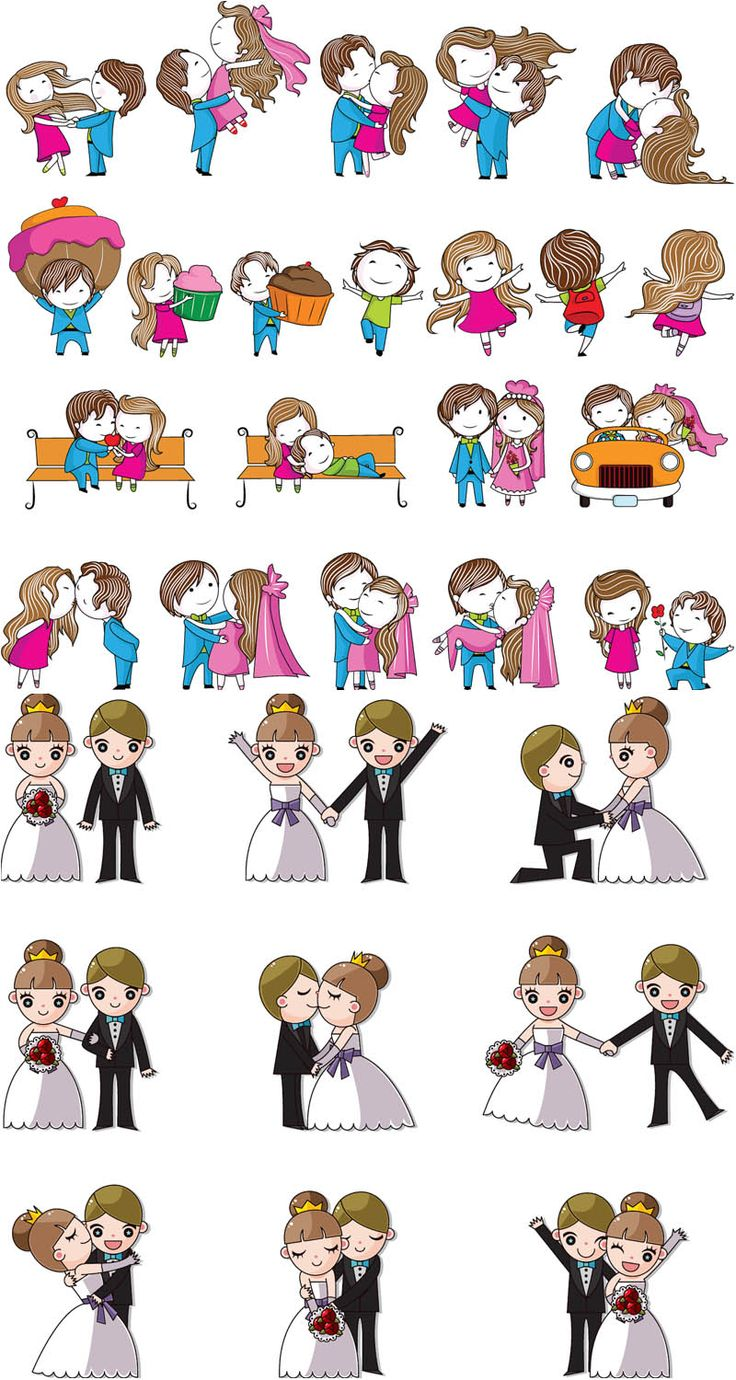 """2 Sets of vector cartoon wedding design elements with bride and groom in cartoon style for your wedding invitations, decorations, cards, brochures, covers, etc. Format: Ai, Tif stock vector clip art and illustrations. Free for download. Set name: """"Cartoon wedding…"""