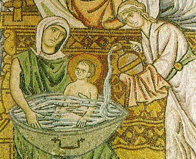 1- Mosaïque de la naissance de la vierge, Eglise Daphni