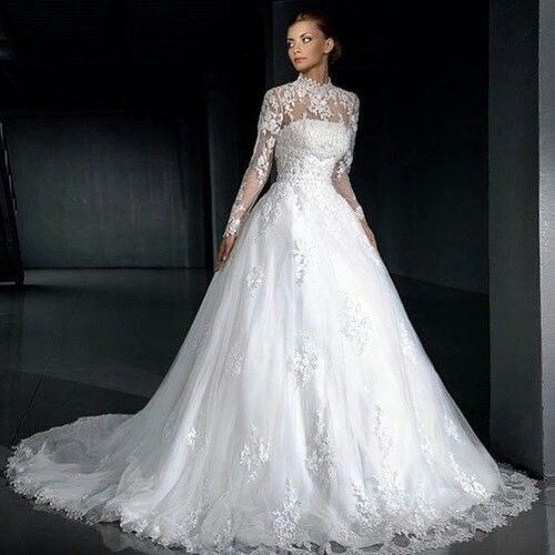 Victorian Wedding Dress Lace Tulle Ball Gown Long Sleeve Wedding Dresses New 2015 High Neck Bridal Gowns Custom Made Court Train Vestidos De Noiva Elegant Elie Saab Princess Gown Wedding Dresses From Beautifulencounter, $354.98| Dhgate.Com