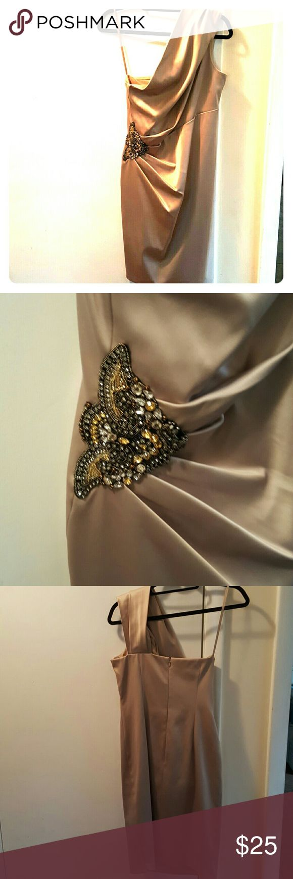 Gold one  strap dress Form fitting gold dress with beautiful jeweled gathered  detail Eliza J Dresses One Shoulder