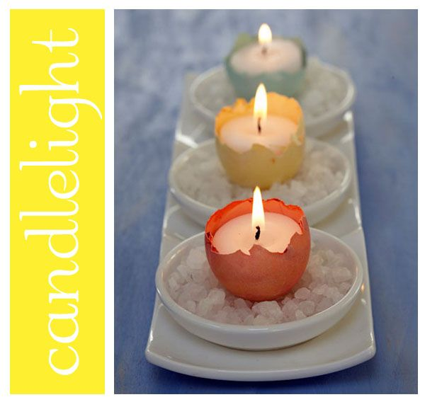 egg votivesDiy Ideas, Eggshell Candles, Coffee Tables,  Tapered, Candles Holders, Easter Tables, Shells Candles, Easter Eggs,  Wax Lights