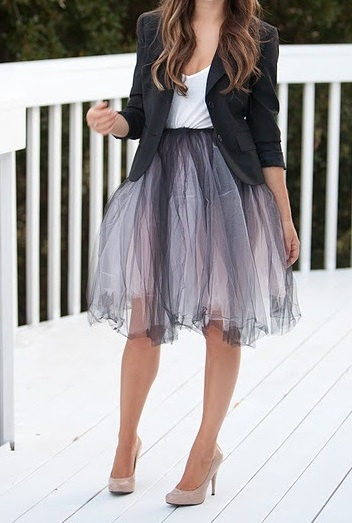 I love the full, girly, and fun skirt with a simple black blazer totally amazing!!