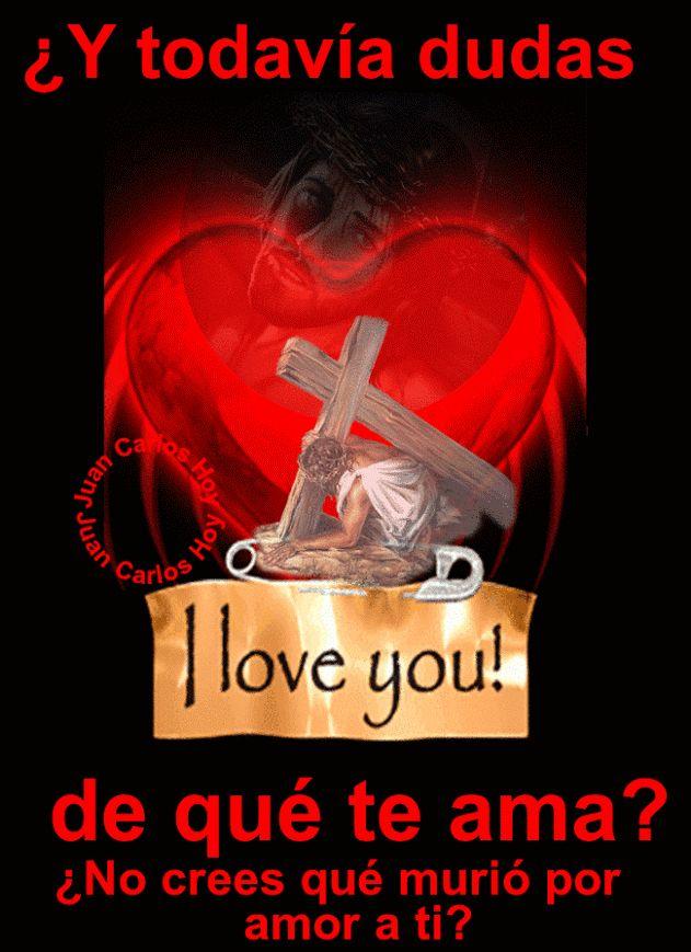 Imagen gifcorazon de amor Jesús muriópor amor a ti. Una imagen hermosa con un mensaje para reflexionar en el amor de Dios, especialmente en esta semana Santa, hagámonos la pregunta si creemos en…