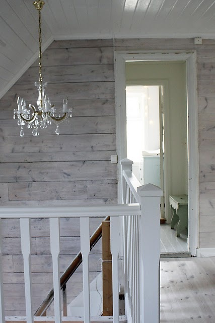 Idea: White Wainscot on bottom, pallet pieces milk painted grey on top