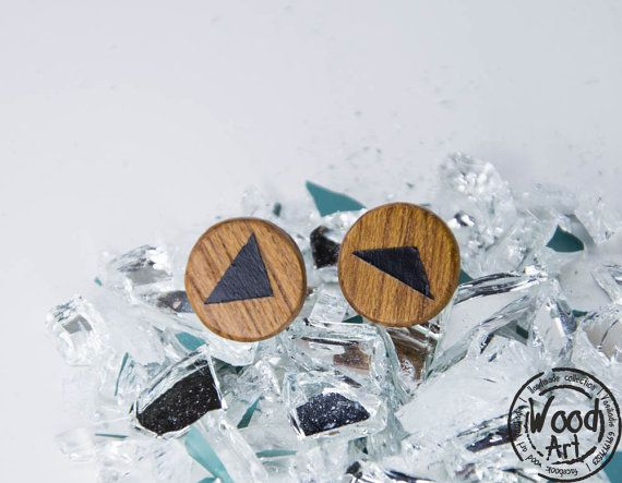 Hand cut and Hand painted Black triangle wooden stud earrings. Black Triangle Studs Black Post Earrings by TheWoodArtShop on Etsy