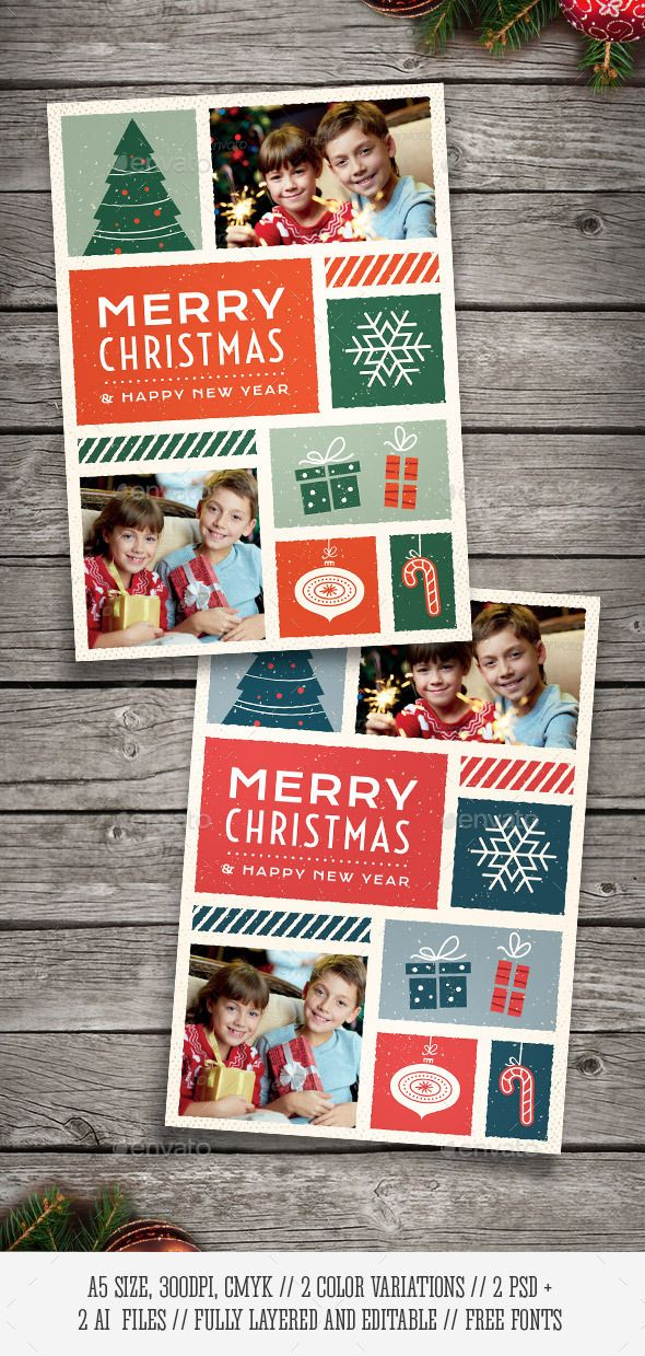 Illustrated Christmas Photo Card - Holiday Greeting Cards