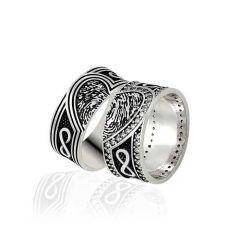 Parmak İzi Sonsuzluk Gümüş Çift  Alyans DY114