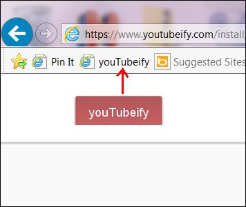 """Internet Explorer:  To install, click the Pin above to open the install link.  Then drag the big red youTubeify button to your Bookmarks toolbar.  If your Bookmarks Toolbar is not visible in Internet Explorer hold down the """"Ctrl"""" and """"Shift"""" keys and click the letter """"B"""" for Bookmarks Toolbar."""