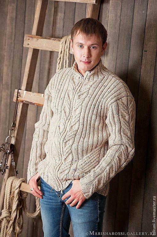 Купить Шерстяной вязаный мужской кардиган на молнии Городские легенды. - мужской свитер