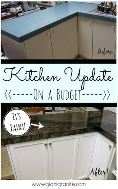 Kitchen Update on a budget. Countertop paint that looks like granite! #DIY www.g…