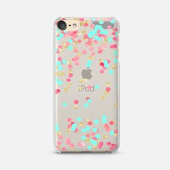 iPod Touch 6 Case Christmas pink watercolor turquoise gold glitter confetti transparent by Girly Trend