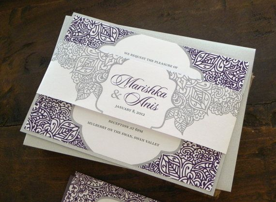 Purple Indian Wedding Invitations: Layered Wedding Invitation Set In White