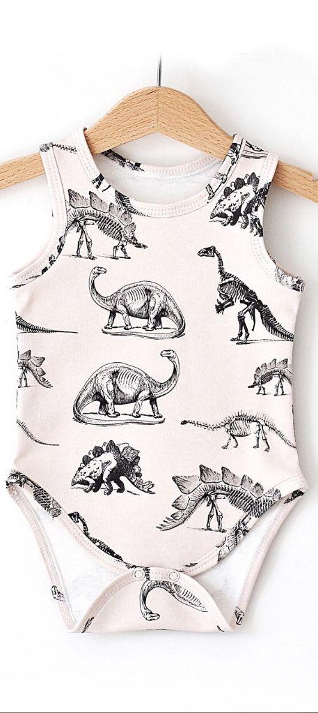 Dinosaur on Cream Organic Baby Onesie, baby onesie, baby bodysuit, baby…