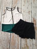 Black Crochet Shorts $32.  So easy to dress up or dress down!!  Aztec Trim Top $28. www.sevenandcoboutique.com