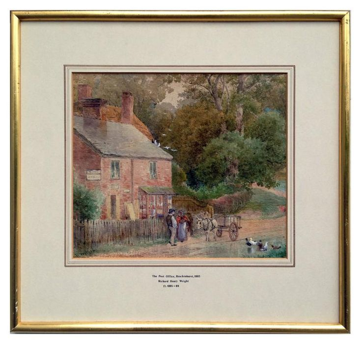 Fine and important watercolor titled The Post Office, Brockenhurst 1885 by British painter Richard Henry Wright (United Kingdom, 1857 - 1930). Detailed scene of ducks gathering and a conversation between a farmer and lady.Available on 1stdibs.com under Robert Azensky Fine Art.