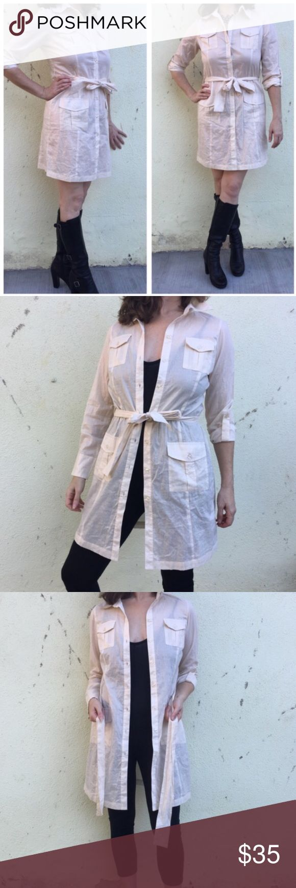 BCBG Cotton OVER SHIRT DRESS JACKET tie Long M Off white/cream long over - shirt (light jacket) for layering and style. by BCBG MAXAZRIA. Can also be worn as an dress With matching unattached sash. 100% cotton. Light weight. Sz M. (J1) BCBGMaxAzria Jackets & Coats