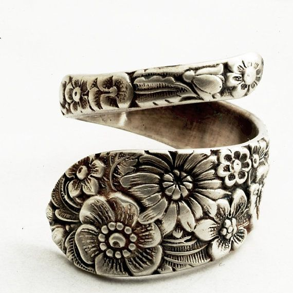 graceparke's save of Antique Stieff Floral Sterling Silver Spoon Ring Made by Spoonier on Wanelo