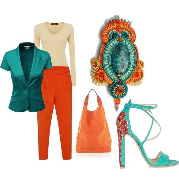 teal and orange by galeriamagia on Polyvore featuring moda, MaxMara, Doublju, VIVETTA, Brian Atwood and Marni