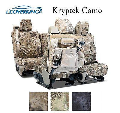 Coverking Custom Tactical Seat Covers Ballistic Canvas Front Rear - Kryptek Camo
