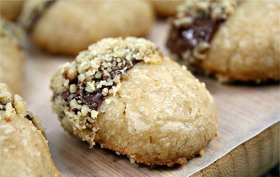 walnut acorn cookies- shortbread dipped in chocolate & nuts