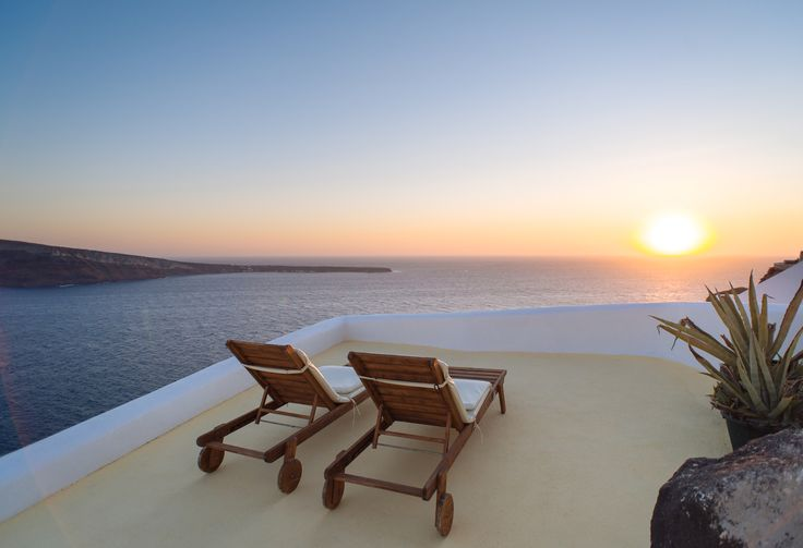 Santorini deckchairs and sunset