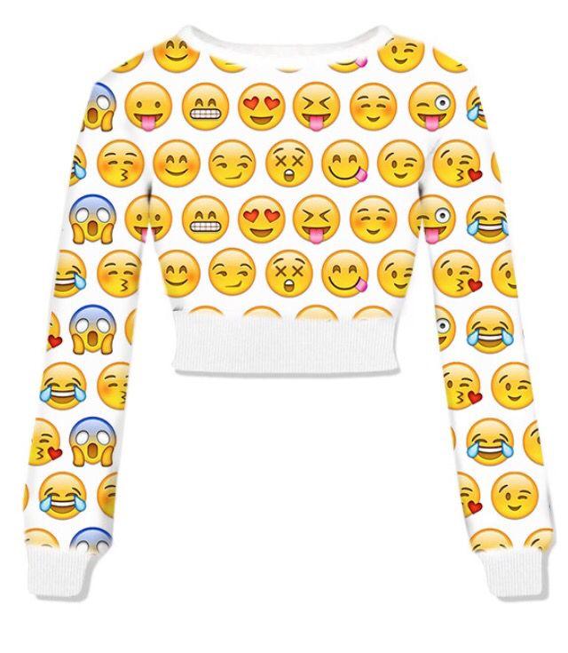 Emoji Faces Fresh Tops Crop Top Sweatshirt