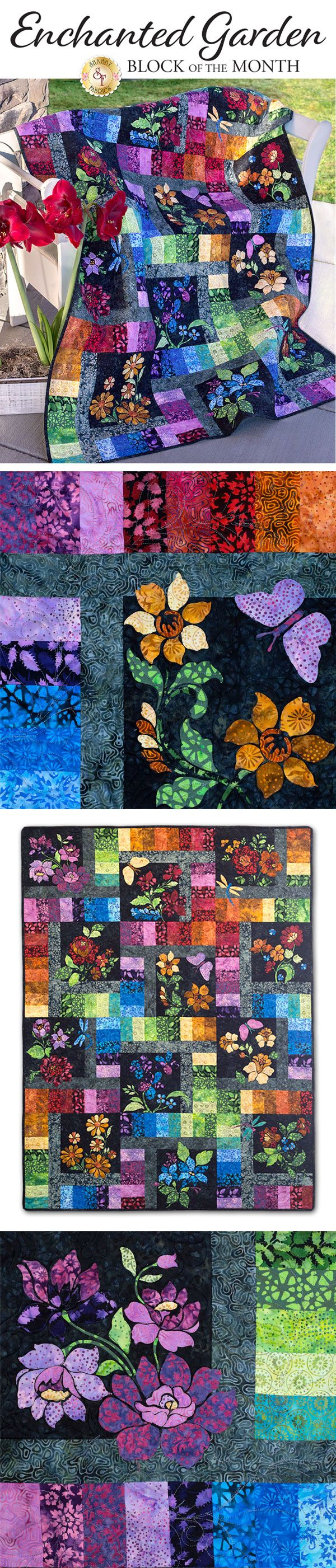Enchanted Garden BOM - Pre-Fused & Laser-Cut Bring the magic and beauty of a flower garden to your home with the stunning, Enchanted Garden Block of the Month! This radiant quilt was designed by In The Beginning Fabrics and features vibrantly colored batik fabrics and detailed appliqué flowers that create a dynamic look against the textured black backgrounds. This eye-catching quilt is sure to be admired wherever it is displayed!