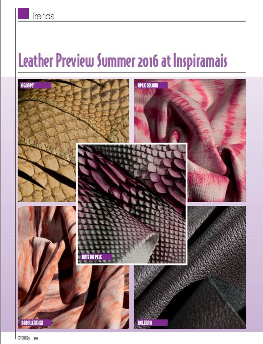 Estamos nas páginas da publicação italiana Master & Trends Fashion.   *** Aguapé Leather on the italian magazine: Master & Trends Frashion.  http://aguapele.com.br/blog/DAY/11/YEAR/aguap-no-inspiramais-vero-2016