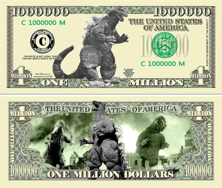 GODZILLA Collectible Novelty Dollar Bill with Protector Auction