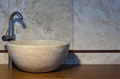 """Solid stone sink """"Tonda Chiaro"""" by Pietre di Rapolano $355  #sink http://www.pietredirapolano.com/lavabi-da-bagno/"""