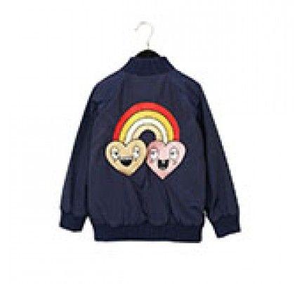 Mini Rodini's Blue Rainbow Jacket, available from Baby Dino, www.babydino.com.au