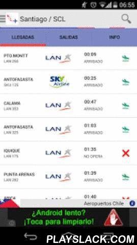 Aeropuertos Chile  Android App - playslack.com ,  Aeropuertos Chile es una app que te permite conocer el estado de los vuelos con origen y/o destino a los principales aeropuertos chilenos en tiempo real. Podrás consultar los horarios de los vuelos, tanto de las llegadas como salidas de vuelos nacionales o internacionales de los principales Aeropuertos de Chile como el Aeropuerto de Santiago de Chile, Antofagasta, Iquique y Puerto MonttEn esta primera versión, podrás conocer la información de…