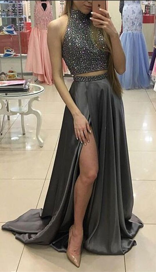 Two Pieces Prom Dresses,Halter Beaded Prom Dresses,Gray Prom Dresses,Front Split Prom Dress,Long Prom Dresses,Long Party Dresses for Teens