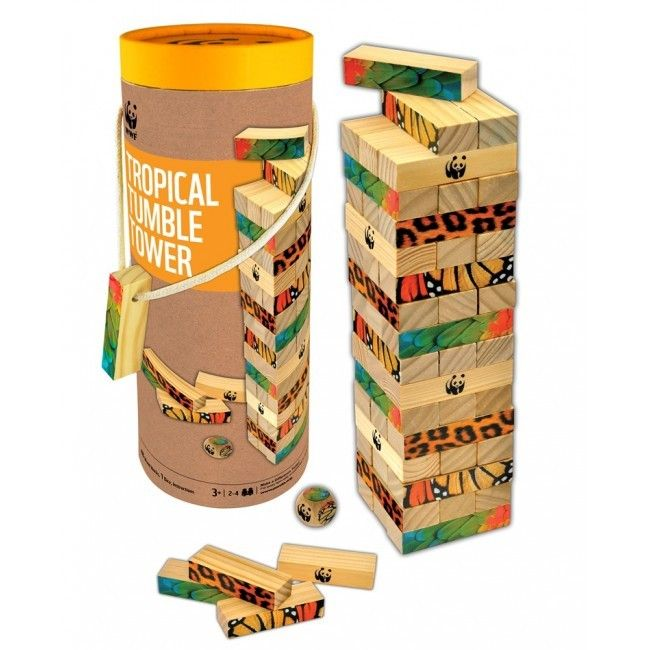 WWF Miombo Tropica Tumble Tower - Tumble & Roll Educational Toys. This stability game promotes learning about balance, staying calm, and encouraging hand-eye co-ordination.  Suitable: 3years +. $37.00 #educationaltoys #toys #kids