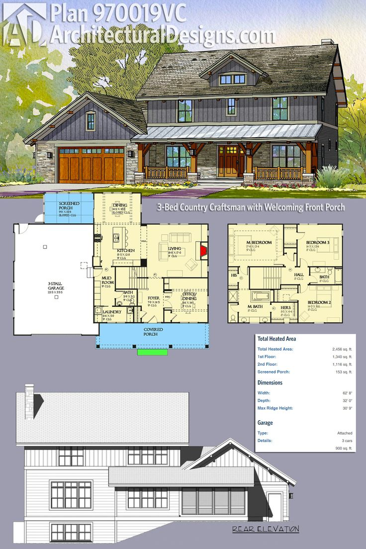 Plan 970019vc 3 bed country craftsman with welcoming for Craftsman house plans with front porch