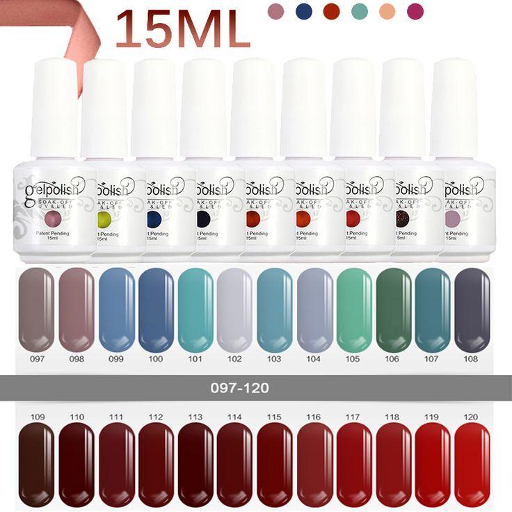 2017 15ml Gel Nail Polish Soak Off Matte Gel Polish Gelpolish Manicure For Nails Gel UV Bling Color Set For Nail Primer