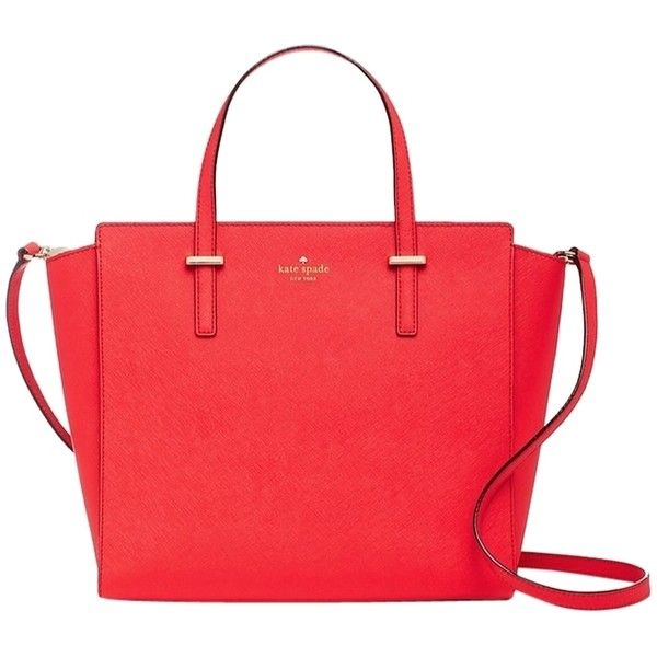 Pre-owned Kate Spade Cedar Street Hayden Red Tote Bag ($249) ❤ liked on Polyvore featuring bags, handbags, tote bags, red, leather handbags, red tote bag, genuine leather tote, leather purse and leather tote bags