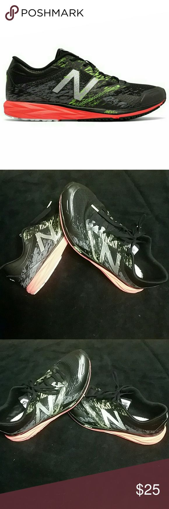 New Balance Revlite Black with accents of orange and green excellent running shoe super light fits like a glove on your foot. They are basically new minor wear on the sole only wore 3 times. New Balance Shoes Athletic Shoes