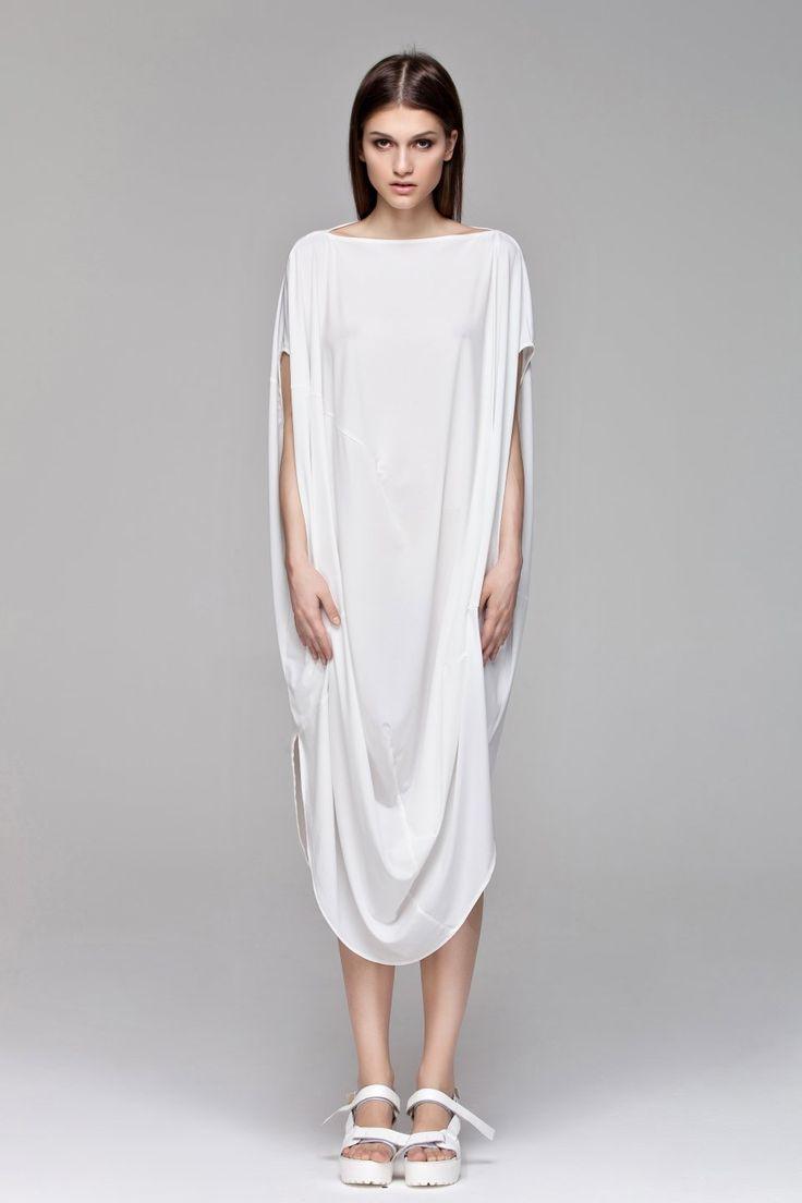 White Draping Dress BLACKBLESSED