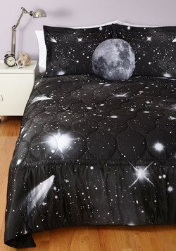 Spaced Out Quilt in Queen. After a busy day that had you moving since sunup, you marvel at the sight of your welcoming bunk and this galaxy-printed quilt that lies on top of it! #black #modcloth